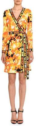 Emilio Pucci Long-Sleeve Hydrangea-Print Silk-Blend Wrap Dress