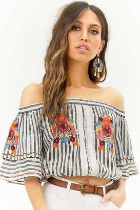 Forever 21 Floral Embroidered Striped Off-the-Shoulder Crop Top