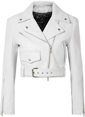 Calvin Klein Cropped Leather Biker Jacket - White