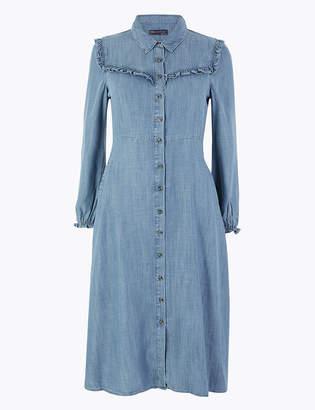 Marks and Spencer PETITE Denim Ruffle Midi Shirt Dress
