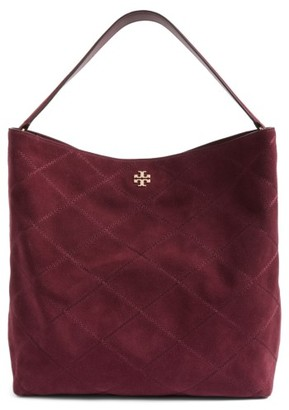Tory Burch Frida Stitched Suede Hobo - Burgundy $528 thestylecure.com