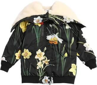 Dolce & Gabbana Hooded Floral Nylon Down Jacket