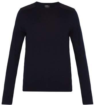 A.P.C. Ernest Shoulder Patch Jersey Sweater - Mens - Dark Navy