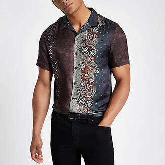 River Island Brown printed revere shirt