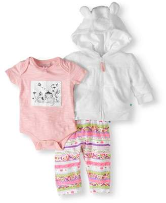 Cherokee Newborn Baby Girls' Hoodie, Bodysuit and Pants 3-Piece Outfit Set