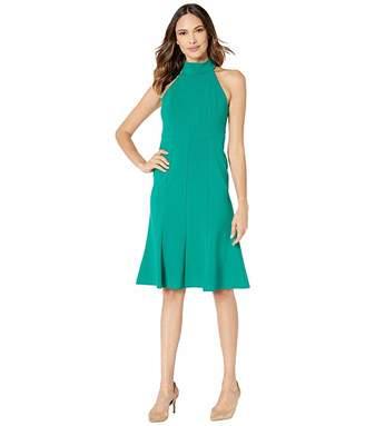 Donna Morgan Crepe Mock Neck Halter Midi Dress