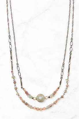 South Moon Under Gunmetal Layered Beaded Necklace