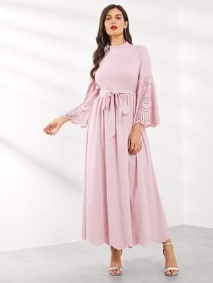 Shein Laser Cut Bell Sleeve Scallop Trim Belted Dress