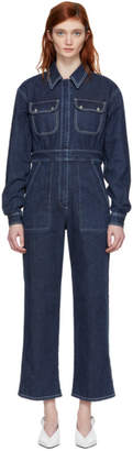 ALEXACHUNG Blue Denim Oversized Boiler Suit