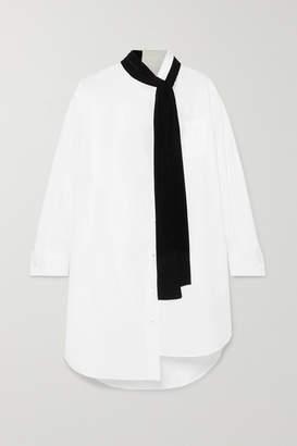 Sacai Oversized Velvet-trimmed Poplin And Cotton-piqué Dress - White
