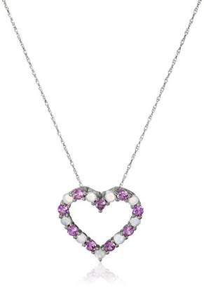 10k White Gold Created Sapphire and Opal Heart Pendant Necklace