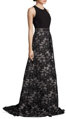 Carmen Marc Valvo Beaded Floral Jacquard Gown $1,295 thestylecure.com