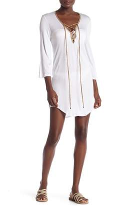 Jordan Taylor Lace-Up Crinkle Tunic Cover-Up
