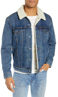 Levi's Faux Shearling Trim Denim Trucker Jacket