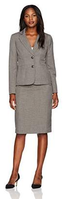 Le Suit Women's Melange Twill 2 Button Notch Lapel Skirt Suit
