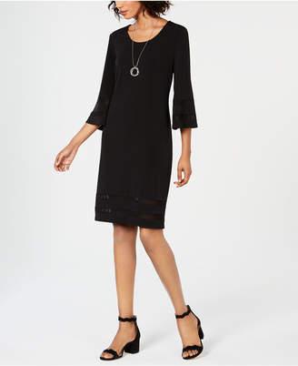 JM Collection Mesh-Inset Necklace Dress