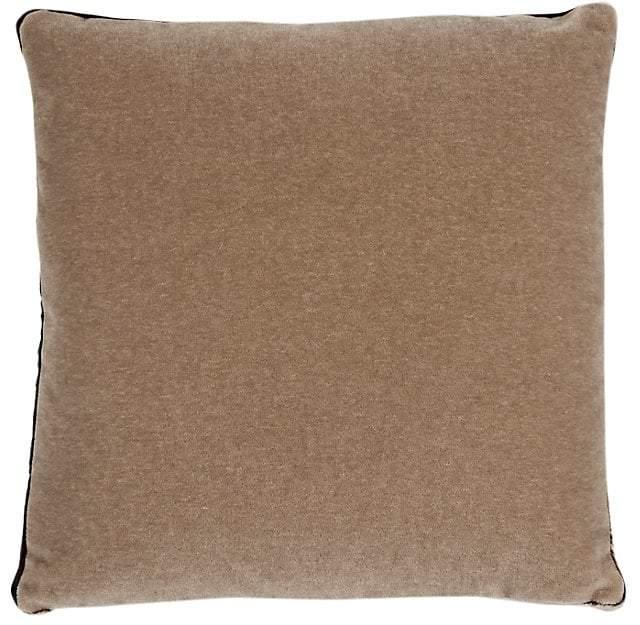 Kevin O'Brien Tuxedo Box Velvet-Bordered Mohair Pillow