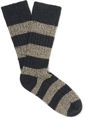 The Workers Club Striped Ribbed Mélange Stretch Merino-Wool Blend Socks