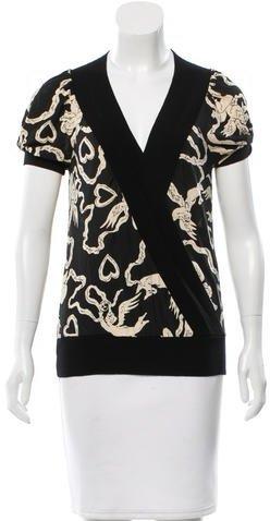 Diane von Furstenberg Printed Short Sleeve Top