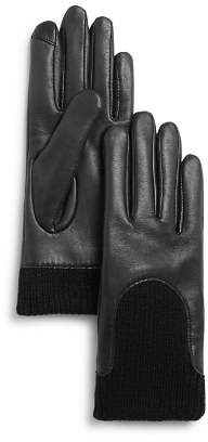 Fownes Knit-Cuff Leather Tech Gloves