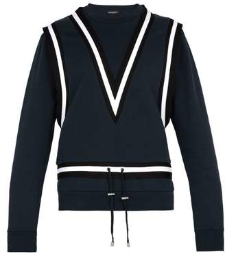 Balmain Taped Band Cotton Jersey Sweatshirt - Mens - Navy