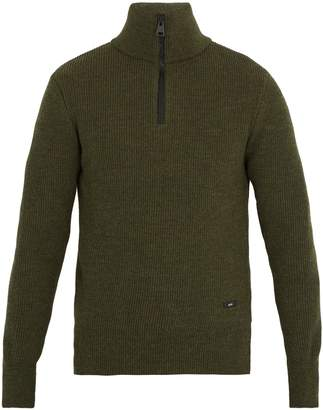 Ami Half-zip ribbed-wool sweater