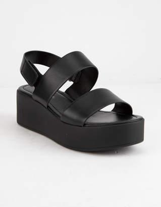 City Classified Two Strap Black Womens Velcro Flatform Sandals