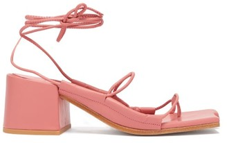 Marques Almeida Marques'almeida - Asymmetric Toe Wrap Around Leather Sandals - Womens - Pink