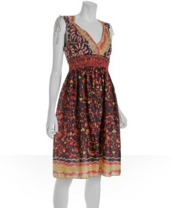 Charlotte Ronson plum tribal batik voile smocked dress