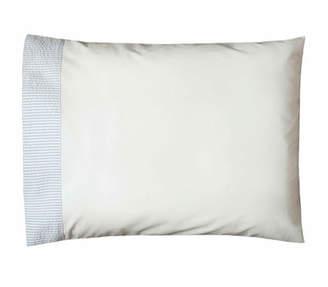 Bovi Fine Linens Baby Seersucker Crib Pillowcase, White/Blue