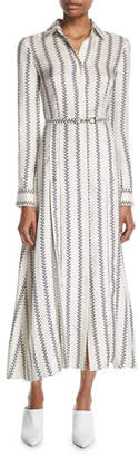 Gabriela Hearst Jane Button-Front Long-Sleeve Printed Silk Twill Shirtdress
