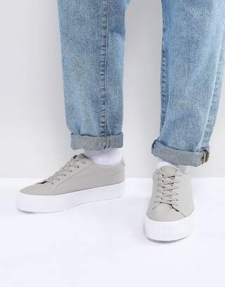 new style 6bb80 a3780 Asos Design Lace Up Plimsolls In Grey Mesh With Chunky Sole