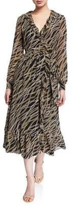 MICHAEL Michael Kors Chain Link Printed Long Sleeve Ruffle Trim Midi Wrap Dress