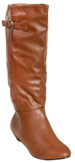 Wet Seal WetSeal Demi Wedge Leatherette Boot Taupe