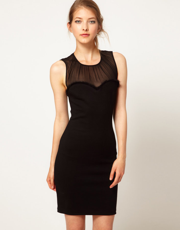 Lulu & Co Lulu and Co Studio Body-Conscious Dress with Mohair Trim