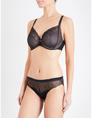 Chantelle Black Le Marais Stretch-Lace And Mesh Bra