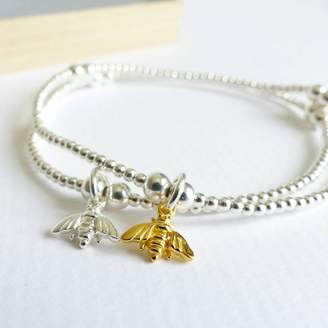 Bumble Bee EVY Designs Sterling Silver Tiny Beaded Bracelet
