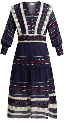 Sea Ila Lace Armour Cotton Dress - Womens - Navy Multi