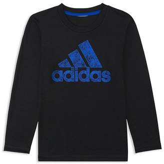 adidas Boys' Printed-Logo Tee - Little Kid