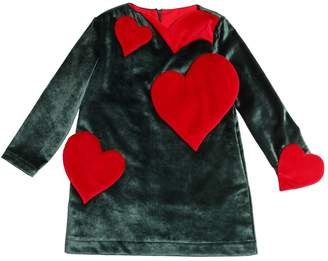 Hearts Patches Cotton Velvet Dress