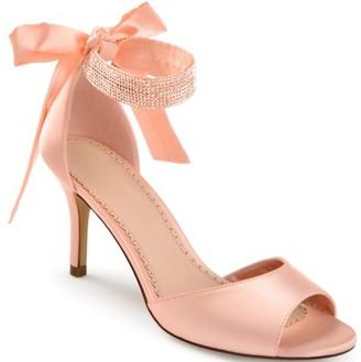 Brinley Co. Women's Satin Rhinestone Ankle Strap Open-toe High Heels