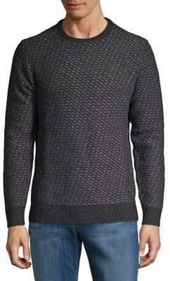 Black & Brown Black Brown Merino Wool Jacquard Crewneck Sweater