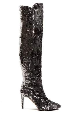Aquazzura Gainsbourg 85 Sequin Boots - Womens - Silver