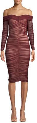 Ryse Zuri Shirred Tulle Off-Shoulder Cocktail Dress