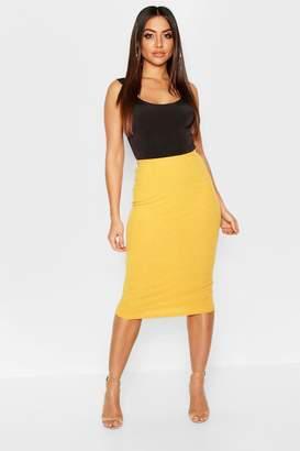 boohoo Rib Knit Bodycon Midi Skirt