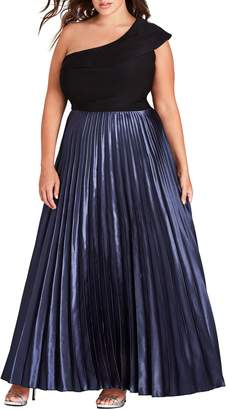 City Chic Rosa One Shoulder Pleat Maxi Dress