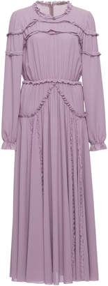Bottega Veneta Long Sleeve Georgette Dress with Ruffle Accents
