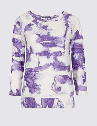 Marks and Spencer Printed Round Neck Raglan 3/4 Sleeve Top