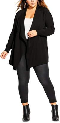 City Chic Trendy Plus Size Corset-Back Cardigan
