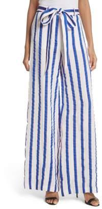 Milly Stripe Washed Linen Blend Pants